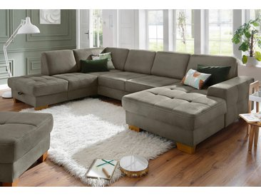 Home affaire Wohnlandschaft Pucci Luxus-Microfaser Lederoptik, 340 cm, Ottomane links, mit Bettfunktion, Stauraum beige Wohnlandschaften Sofas Couches Wohnzimmer