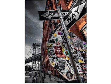 Artland Glasbild New York Street Fotografie 60x80 cm, grau Glasbilder Bilder Bilderrahmen Wohnaccessoires