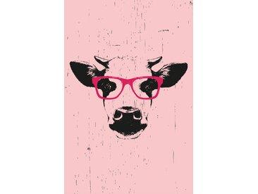 queence Leinwandbild Kuh mit Brille 80x120 cm rosa Leinwandbilder Bilder Bilderrahmen Wohnaccessoires
