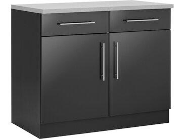 wiho Küchen Unterschrank Cali 100 x 85 60 (B H T) cm, 2-türig grau Unterschränke Küchenschränke Küchenmöbel Schränke