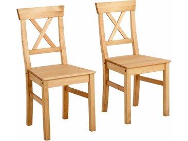 Home affaire 4-Fußstuhl Malaga 4 Stück beige Holzstühle Stühle Sitzbänke