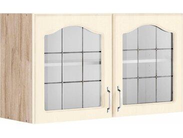 wiho Küchen Glashängeschrank Linz, 100 cm breit, mit 2 Glastüren x 56,5 35 (B H T) gelb Hängeschränke Küchenschränke Küchenmöbel Schränke
