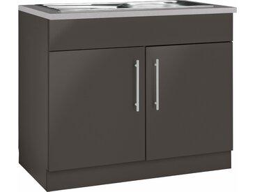 wiho Küchen Spülenschrank Cali, 100 cm breit B/H/T: x 85 60 cm, 2 grau Spülenschränke Küchenschränke Küchenmöbel