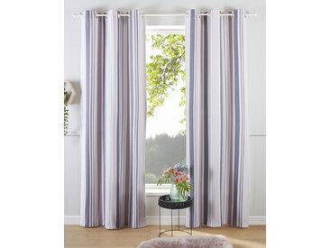 my home Gardine Stripe, Nachhaltig 245 cm, Ösen, 110 cm rosa Blickdichte Vorhänge Gardinen