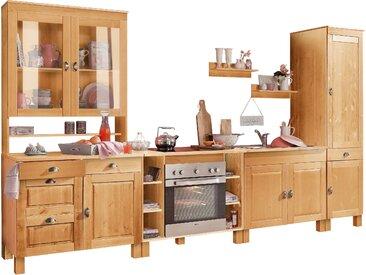 TOPSELLER: Home affaire Küchen-Set Oslo, (7-tlg), ohne E-Geräte, aus massiver Kiefer, 23 mm starke Arbeitsplatte