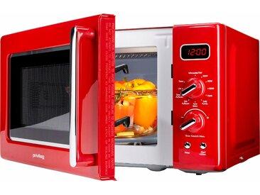 Privileg Mikrowelle 450555, Grill, 700 W, im Retro-Design, 8 Automatikprogramme, rot Einheitsgröße SOFORT LIEFERBARE Haushaltsgeräte
