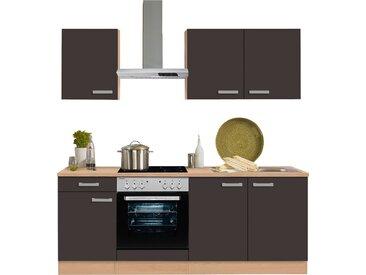 OPTIFIT Küchenzeile Odense, ohne E-Geräte, Breite 210 cm, mit 28 mm starker Arbeitsplatte, Gratis Besteckeinsatz Einheitsgröße grau Küchenzeilen Geräte -blöcke Küchenmöbel Arbeitsmöbel-Sets