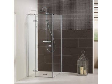 Dusbad Eckdusche Vital 1, Drehtür rechts mit Seitenwand B/H: 75 cm x 200 cm, nur montierbar grau Duschkabinen Duschen Bad Sanitär Bodenablauf