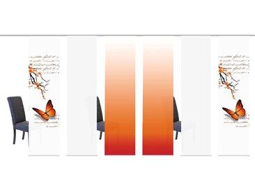 Schiebegardine, BUTTERFLIES, HOME WOHNIDEEN, Klettband 6 Stück 1, H/B: 245/60 cm, blickdicht, orange Blickdichte Vorhänge Gardinen Gardine
