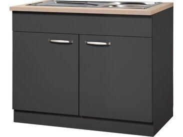 wiho Küchen Spülenschrank Michigan B/H/T: 100 cm x 85 60 cm, 2 grau Spülenschränke Küchenschränke Küchenmöbel