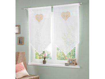 my home Scheibengardine Vara 120 cm, Stangendurchzug, 60 cm beige Wohnzimmergardinen Gardinen nach Räumen Vorhänge