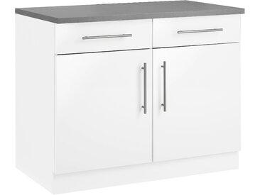 wiho Küchen Unterschrank Cali 100 x 85 60 (B H T) cm, 2-türig weiß Unterschränke Küchenschränke Küchenmöbel Schränke