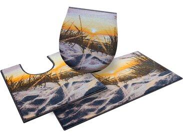 Badematte Ostsee, GRUND exklusiv, Höhe 9 mm, rutschhemmend beschichtet, strapazierfähig 11, 3-tlg. Stand-WC Set, mm beige Gemusterte Badematten