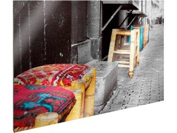 Art & Pleasure Metallbild Lonely lane, Städte 120x90 cm bunt Metallbilder Bilder Bilderrahmen Wohnaccessoires