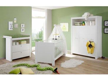 Babyzimmer-Komplettset Trend, (Set, 3 St.), Bett + Wickelkommode trg. Schrank B/H: 70 cm x 140 weiß Baby Baby-Möbel-Sets Babymöbel