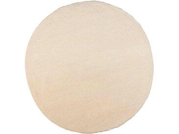 THEKO Wollteppich Taza Royal, rund, 24 mm Höhe, echter Berber, reine Schurwolle, handgeknüpft, Wohnzimmer Ø 150 cm, 1 St. weiß Esszimmerteppiche Teppiche nach Räumen