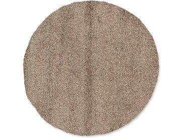 OCI DIE TEPPICHMARKE Teppich LOBBY SHAGGY, rund, 52 mm Höhe, Wohnzimmer Ø 200 cm, 1 St. braun Esszimmerteppiche Teppiche nach Räumen