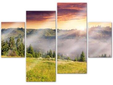 Wall-Art Mehrteilige Bilder Bergtal im Nebel (4-teilig), (Set, 4 St.) Einheitsgröße bunt Bilderrahmen Wohnaccessoires