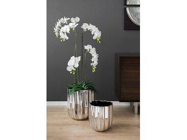 Fink Übertopf TULIP, Blumenübertopf, Vase, aus Keramik, in Handarbeit hergestellt, verschiedene Durchmesser erhältlich H: 41 cm silberfarben Pflanzgefäße Blumenvasen Kleinmöbel