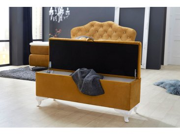Jockenhöfer Gruppe Bettbank, mit Stauraum B/H/T: 127 cm x 51 44 cm, Samtvelours goldfarben Bettbänke Sitzbänke Stühle Bettbank