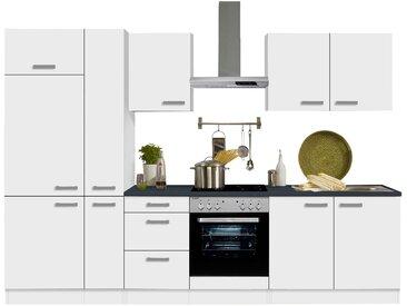 OPTIFIT Küchenzeile Odense, mit E-Geräten, Breite 300 cm EEK D Einheitsgröße weiß Küchenzeilen Geräten -blöcke Küchenmöbel Arbeitsmöbel-Sets