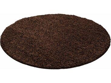 Ayyildiz Hochflor-Teppich Life Shaggy 1500, rund, 30 mm Höhe, Wohnzimmer Ø 160 cm, 1 St. braun Esszimmerteppiche Teppiche nach Räumen