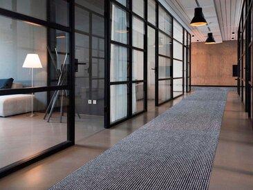 Primaflor-Ideen in Textil Läufer MAGNUM, rechteckig, 10,5 mm Höhe, Schmutzfangläufer, Schmutzfangteppich, Schmutzmatte, robust und pflegeleicht 200x800 cm, grau Teppichläufer Teppiche Diele Flur
