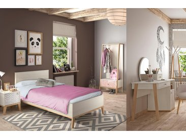 Gami Jugendzimmer-Set Alika, (Set, 5 St.) Liegefläche: 90/200 cm braun Kinder Komplett-Kinderzimmer Kindermöbel