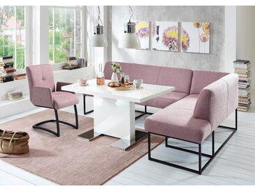 exxpo - sofa fashion Eckbank Affogato, Frei im Raum stellbar B/H/T: 157 cm x 82 245 cm, Struktur, Ottomane rechts, langer Schenkel links lila Sitzbänke Nachhaltige Möbel