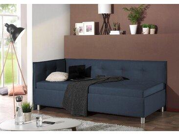 Maintal Polsterliege, mit Seiten- und Rückenteil Struktur (100% Polyester), 80x200 cm, Bonnell-Federkernmatratze, H2, Seitenteil links blau Einzelbetten Betten Komplettbetten