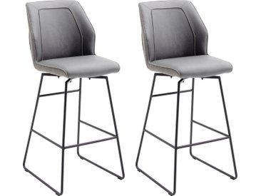 MCA furniture Barhocker Aberdeen, Barstuhl im Materialmix, bis 120 Kg belastbar H/T: 116 cm x 58 cm, Kunstleder-Flachgewebe, Ohne Nievellierung grau Barmöbel Küchenmöbel