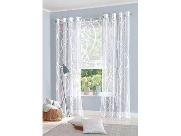 my home Raffrollo Cellino, mit Schlaufen 140 cm, Schlaufen, 120 cm weiß Wohnzimmergardinen Gardinen nach Räumen Vorhänge
