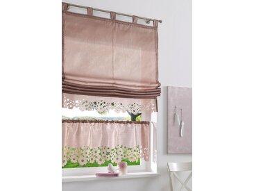 my home Scheibengardine VENEDIG, Fertiggardine, halbtransparent 45 cm, Stangendurchzug, 120 cm braun Wohnzimmergardinen Gardinen nach Räumen Vorhänge