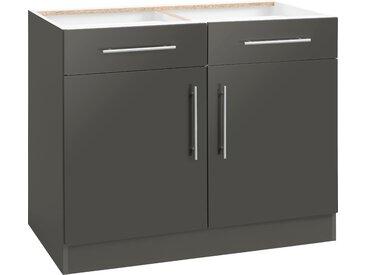 wiho Küchen Unterschrank Cali 100 x 82 57 (B H T) cm, 2-türig grau Unterschränke Küchenschränke Küchenmöbel Schränke