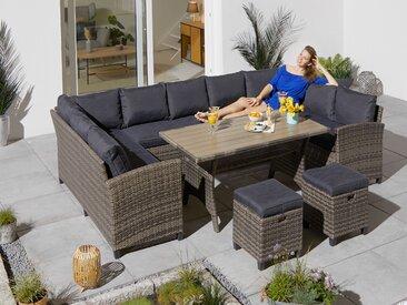 KONIFERA Loungeset Rotterdam, (20 tlg.), 3x Sofa, 2 Hocker, Tisch 120x82 cm, Polyrattan Einheitsgröße grau Lounge-Gartenmöbel Gartenmöbel Gartendeko