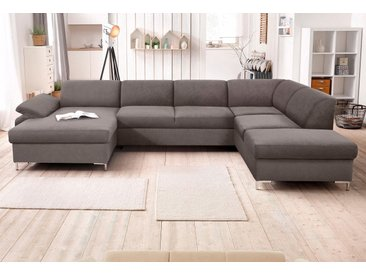 DOMO collection Wohnlandschaft Santana, wahlweise mit Bettfunktion B/H/T: 352 cm x 79 90 cm, Microfaser PRIMABELLE®, Recamiere links, ohne Bettfunktion-ohne Federkern grau Wohnlandschaften Sofas Couches