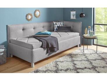 Maintal Polsterliege Struktur (100% Polyester), 90x200 cm, Bonnell-Federkernmatratze, H2, Seitenteil rechts grau Einzelbetten Betten Komplettbetten