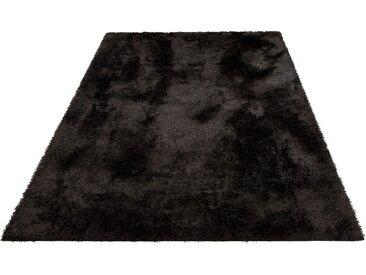 Home affaire Hochflor-Teppich Malin, rechteckig, 43 mm Höhe, Shaggy, Uni Farben, leicht glänzend, besonders weich durch Microfaser, Wohnzimmer B/L: 240 cm x 320 cm, 1 St. schwarz Esszimmerteppiche Teppiche nach Räumen