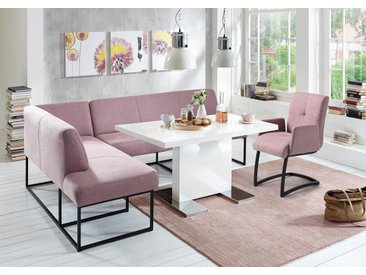 exxpo - sofa fashion Eckbank Struktur, Ottomane links, langer Schenkel rechts, 157cm lila Eckbänke Sitzbänke Stühle