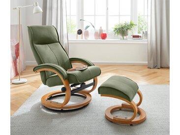 my home Relaxsessel Lille, aus weichem Luxus-Microfaser Bezug und einem schönen Holzgestell, Sitzhöhe 46 cm weich grün Sessel
