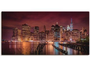 Artland Wandbild New York City Impression bei Nacht, Amerika, (1 St.) 150x75 cm, Leinwandbild rot Bilder Bilderrahmen Wohnaccessoires