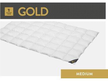 Gänsedaunenbettdecke, Gold, SPESSARTTRAUM, Füllung: 100% Gänsedaunen, Bezug: Baumwolle weiß, 155x200 cm weiß Daunendecke Bettdecken Bettdecken, Kopfkissen Unterbetten Bettdecke