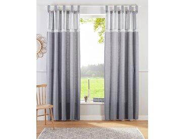 Home affaire Gardine Mit Spitze 175 cm, Schlaufen, 110 cm grau Blickdichte Vorhänge Gardinen