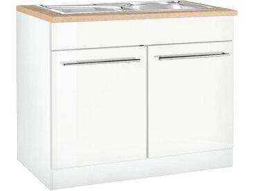 HELD MÖBEL Spülenschrank Eton, Breite 100 cm B/H/T: x 85 60 cm, 2 weiß Spülenschränke Küchenschränke Küchenmöbel