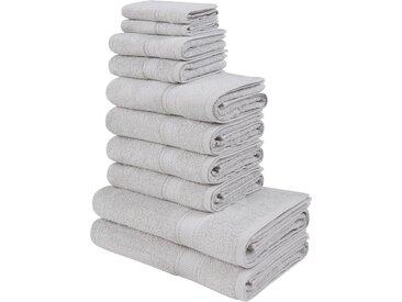 my home Handtuch Set Moni, in Premium-Qualität 10 tlg. grau Handtücher Badetücher Nachhaltige Heimtextilien