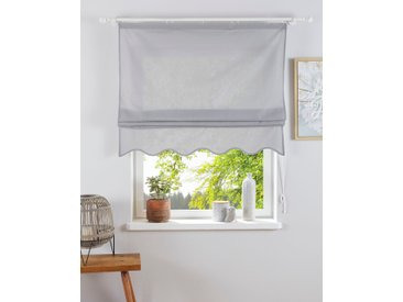 Home affaire Raffrollo Florenz, mit Klettband 140 cm, Klettband, 45 cm grau Blickdichte Vorhänge Gardinen