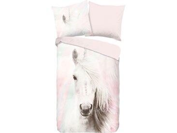 good morning Kinderbettwäsche Fluffy, mit Pferd B/L: 135 cm x 200 (1 St.), 80 Renforcé rosa Bettwäsche 135x200 nach Größe Bettwäsche, Bettlaken und Betttücher