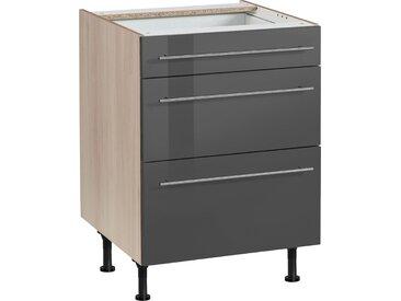 OPTIFIT Unterschrank Bern, 60 cm breit, mit 1 Schubkasten und 2 großen Auszügen, höhenverstellbaren Füßen, Metallgriffen H/T: 87 x 58,4 grau Unterschränke Küchenschränke Küchenmöbel