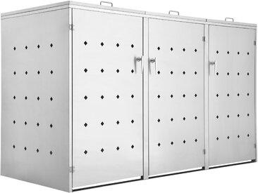 """Edelstahl Mülltonnenbox """"Rhombus"""" mit Klappdeckel für 3 Tonnen"""