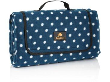 CampFeuer Picknickdecke 200x200 cm  blau  Muster: Punkte